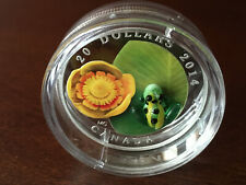 2014 CANADA Fine Silver Coin - Water-lily and Venetian Glass Leopard Frog