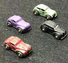 """4 VINTAGE 1 1/2"""" DIE CAST METAL CARS WITH METAL WHEELS FOR CAR CARRIER"""