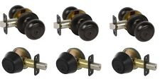 3 Saxon Entry Door Knobs with Deadbolts in Black Finish - Free Key Alike