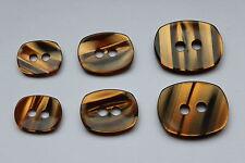 10 tolle Mantelknöpfe, Tiger-Optik, orange - schwarz - Verlauf, Größe: 22x18 mm