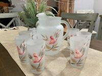 Gay Fad Satin Frosted Glass Picher / Glasses with hand painted flower.