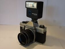 Vintage Praktica  MTL 5 B SLR Camera + Auto Flex  Lense + Flash  . Works well