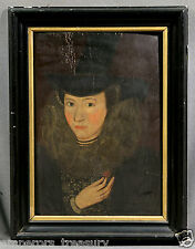 17th Century European Oil Painting: Portrait of Esther Inglis (French)