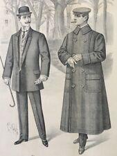 Estampe C. COSTA BULLETIN DE MODES POUR HOMME ART NOUVEAU PARIS 1909 FASHION