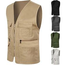 Men Military Multi Pocket Photography Director Vest Top Outdoor Fishing Jacket D