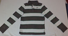 Hollister Long Sleeve Gray & White Stripe Button Top Collared Polo    S     F373