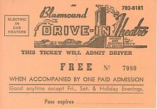 Vintage 1960s Free pass to the Buemound Drive-In Theater MIlwaukee WI