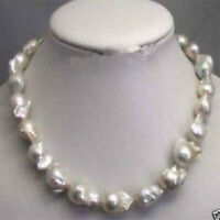 "Large 15-23mm White Unusual Baroque Pearl Necklace disc Clasp 18 "" Chain"