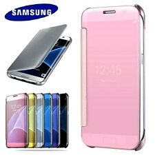 NEW Official Samsung Galaxy Slim Flip Mirror Case Wallet Leather PU Book Cover