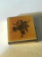 Antique Square Pill Box, Enamel Floral Design, Gold Tone, Just Over 1 & 1/2 Inch