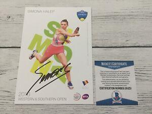 Simona Halep Signed Autographed 5x7 W&S Card Beckett BAS COA b