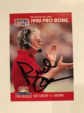 BUD CARSON CLEVELAND BROWNS SIGNED 1990 PRO SET CARD #378 COA