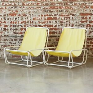 1960s Mid Century Pool Patio Sling Beautiful Set of Lounge Modern Atomic Chairs