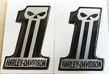 COPPIA ADESIVI RESINATI 3D HARLEY DAVIDSON NUMERO UNO - NUMBER ONE - SKULL