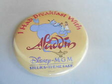 "VINTAGE 3"" PROMO PINBACK BUTTON #91-069 - DISNEY - BREAKFAST WITH ALADDIN - MGM"