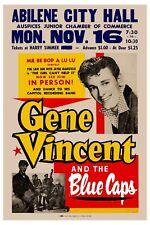Rockabilly: Gene Vincent & The Blue Caps in Abilene Texas Concert Poster 1959