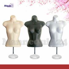 3 Mannequin Female Torsos Set - Flesh White Black Forms w/ 3 Stands + 3 Hangers