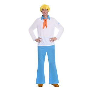 Adults Fred Jones Fancy Dress Costume + Wig Scooby Doo Ladies Mystery Mens