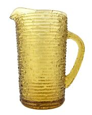 Vintage Clear Amber Yellow Gold Glass Textured Pitcher Shakey's Restaurant Style
