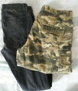 Life & Glory Cargo Shorts + Denim Co Black Ripped Trousers Bundle - Size W 32