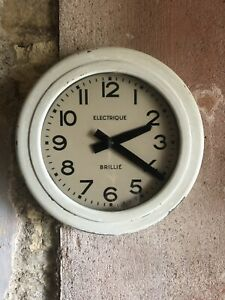 Antique French Brillie Electrique Industrial Station Factory Clock Dated 1919