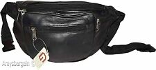 New Large Leather waist pouch. Black waist bag, leather bag, Jumbo Fanny pack BN