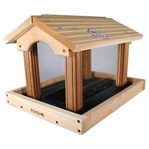 Woodlink PRO4 Premier Large Capacity Ranch Style Red Cedar Wood Bird Feeder