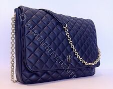 CAROLINA HERRERA Lambskin Leather CH Quilted Navy CrossBody Shoulder Bag NWT