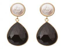 Gemshine Ohrringe 925 Silber Vergoldet Perlen Onyx Weiss Schwarz 4 cm
