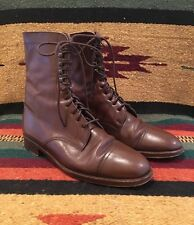 RALPH LAUREN Brown Leather Victorian Doughboy Boot Lace-Up Ankle 7B Italy Mint!