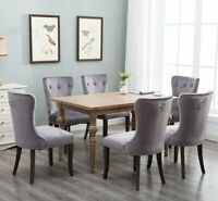 2 /set Dining Chairs Wood Living Room Tufted padded Backrest Furniture Gray New