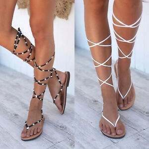 Womens Ankle Strap Flats Fashion Flip Flops Sandals Ladies Holiday Lace Up Shoes