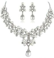 Bridal Wedding Necklace Earring Jewellery Set Luxury Party Ivory Pearl
