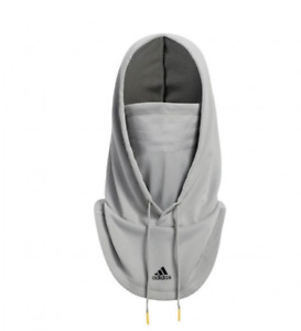 Adidas Hooded Face Cover Mask Gray Drawcord Training Mens One Size HA3686 NWT