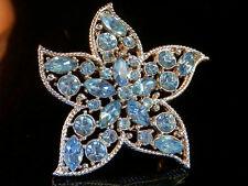 Vintage 60's Sarah Cov Blue Star Rhinestone Flower Brooch 19MY5