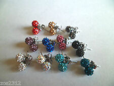 6mm Shamballa/Ferido Crystal Ball Stud  Earrings 11 Colours Free P&P