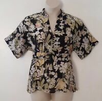 Emma James Black Yellow Floral Print Short Sleeve Sheer Top Blouse Size 14