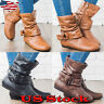Women Mid Calf PU Leather Flat Boots Ladies Casual Biker Slouch Boots Shoes Size