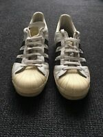 ADIDAS Black/White Leather Superstars - Mens Size 42EU/8.5US/8UK