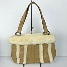 Bath and Body Works Beige Faux Fur & Suede Boho Handbag Purse Tote NEW