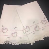 Vintage Mid Century Embroidered Pillowcases Set 2 Pink Hearts White Crochet Hems