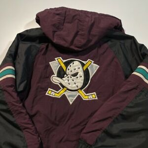Anaheim Mighty Ducks Jacket Youth XL Boys Purple Vintage 90s Starter Puffer NHL