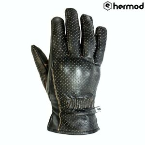 Helstons Basic Perforated Leather Motorbike Motorcycle Gloves - Brown