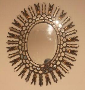 AMAZING Antique Stylish Gold Mirror Oval - Glazed style / Unique Piece A1