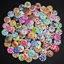 80 15mm WOODEN BUTTONS - MIXED RANDOM DESIGNS - CRAFT - SCRAPBOOK - SEW - CARDS