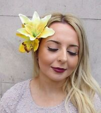 Double Yellow Lily Orchid Flower Hair Clip Rockabilly 1950s Fascinator Vtg 3007