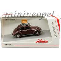 SCHUCO 45 201 7000 VW VOLKSWAGEN BEETLE with LUGGAGE RACK 1/64 DARK BURGUNDY