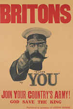 Britons UK wartime Advert 1940  Poster army god save king
