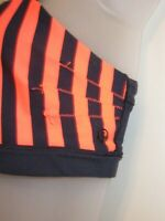 Lululemon Athletica 8 Sports Bra Deep Dark Navy Blue Bright Orange Striped Yoga