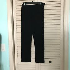 Mark Eisen Black Stretch Skinny Cuffed Pants with Side Zipper and Button